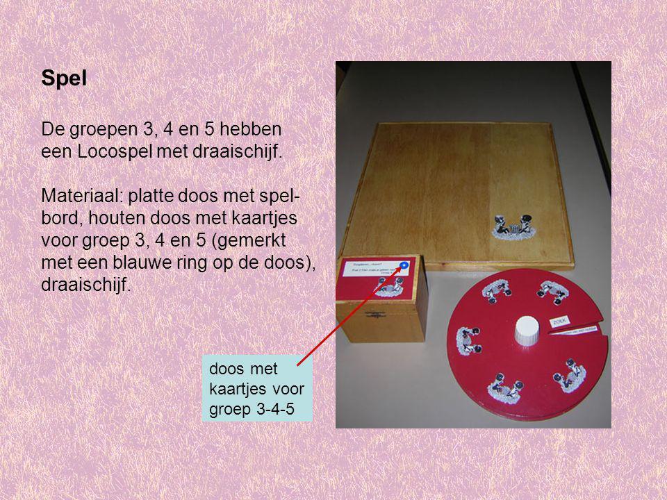 Spel De groepen 3, 4 en 5 hebben een Locospel met draaischijf.