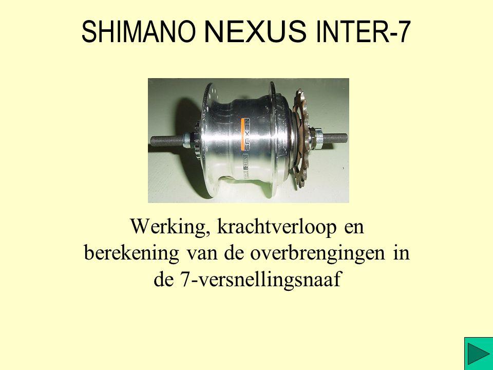 SHIMANO NEXUS INTER-7 Werking, krachtverloop en berekening van de overbrengingen in de 7-versnellingsnaaf.