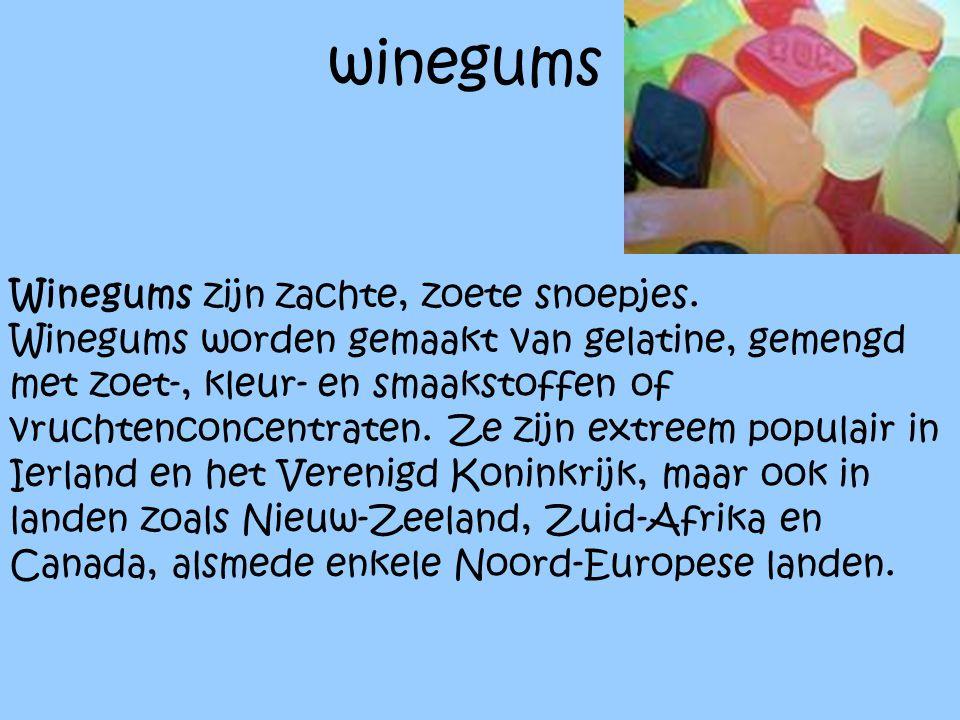 winegums winegums Winegums zijn zachte, zoete snoepjes.