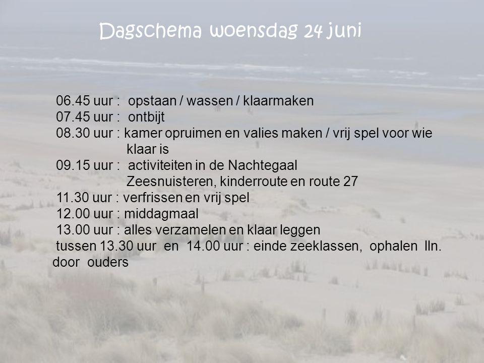 Dagschema woensdag 24 juni