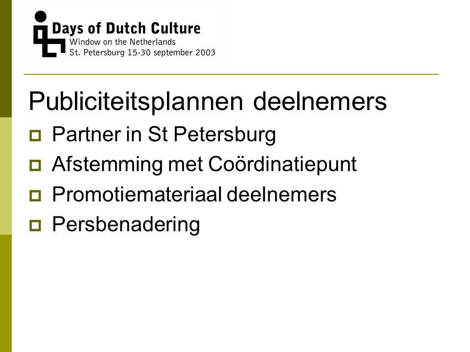 Publiciteitsplannen deelnemers