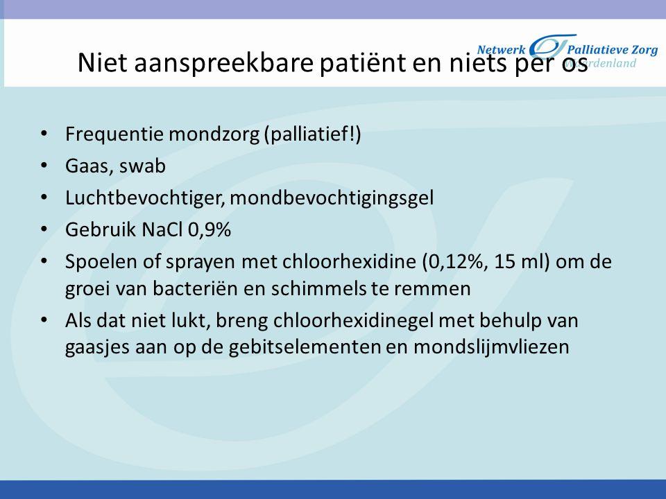 Niet aanspreekbare patiënt en niets per os