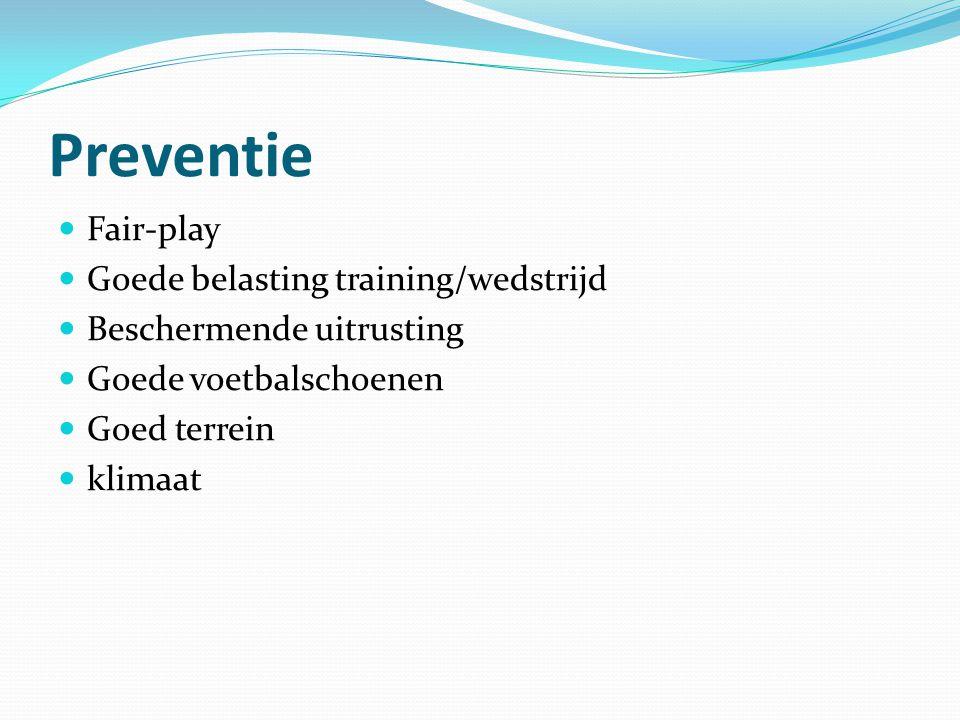Preventie Fair-play Goede belasting training/wedstrijd