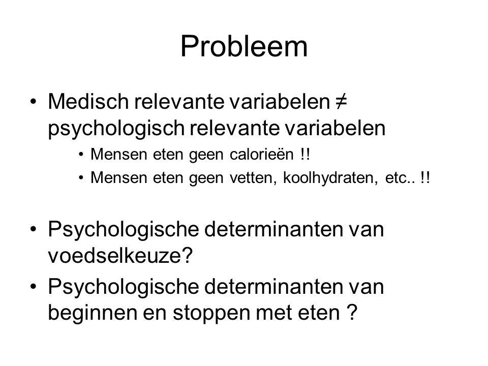 Probleem Medisch relevante variabelen ≠ psychologisch relevante variabelen. Mensen eten geen calorieën !!