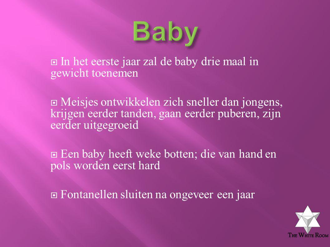 Baby In het eerste jaar zal de baby drie maal in gewicht toenemen