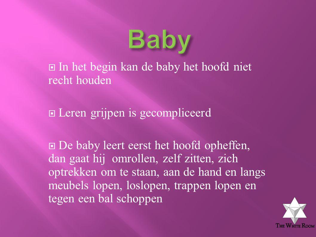 Baby In het begin kan de baby het hoofd niet recht houden