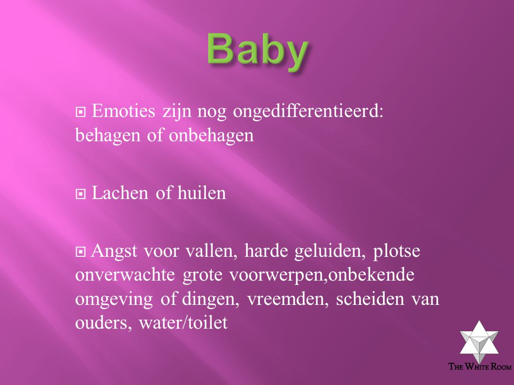 Baby Emoties zijn nog ongedifferentieerd: behagen of onbehagen
