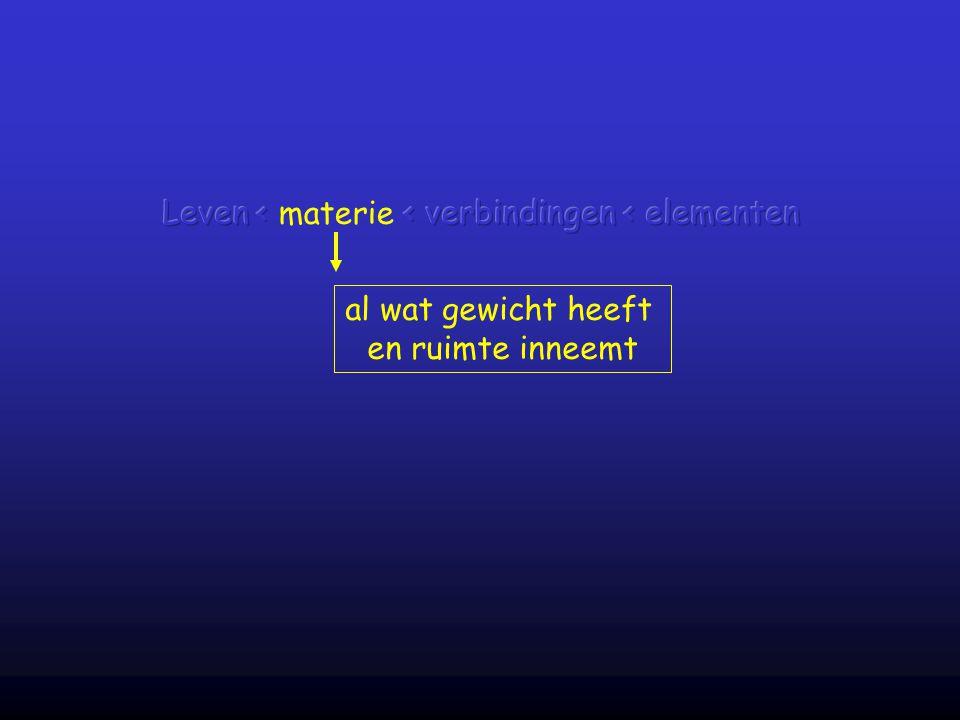 Leven < materie < verbindingen < elementen