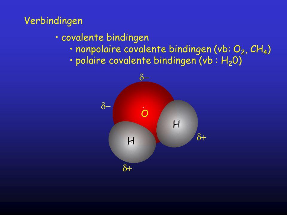 nonpolaire covalente bindingen (vb: O2, CH4)