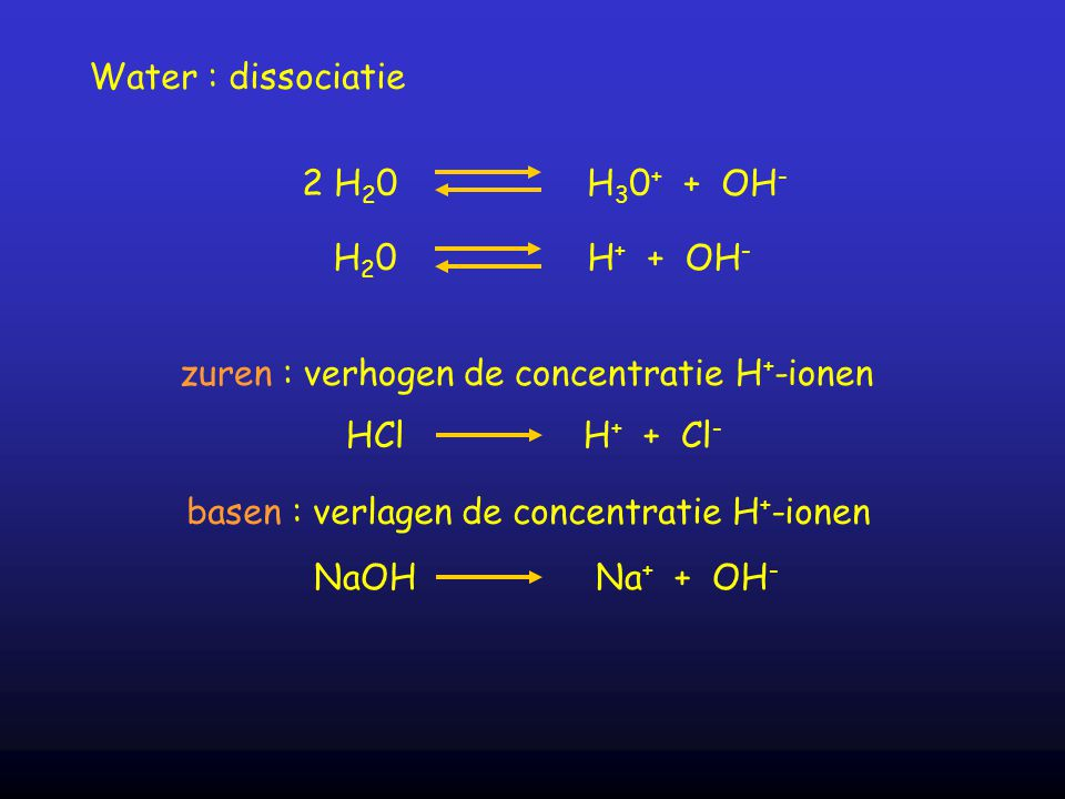 Water : dissociatie 2 H20 H30+ + OH- H20 H+ + OH- zuren : verhogen de concentratie H+-ionen.