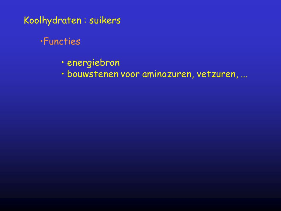 Koolhydraten : suikers