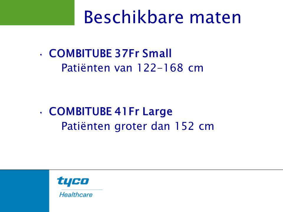 Beschikbare maten COMBITUBE 37Fr Small Patiënten van 122-168 cm