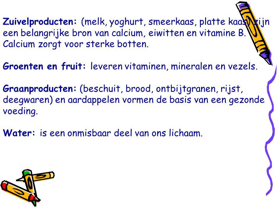 Zuivelproducten: (melk, yoghurt, smeerkaas, platte kaas) zijn een belangrijke bron van calcium, eiwitten en vitamine B. Calcium zorgt voor sterke botten.