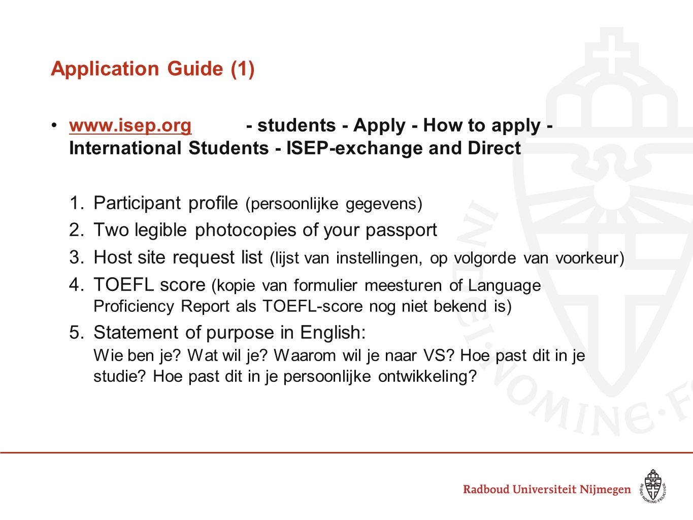 Application Guide (1) www.isep.org - students - Apply - How to apply - International Students - ISEP-exchange and Direct.