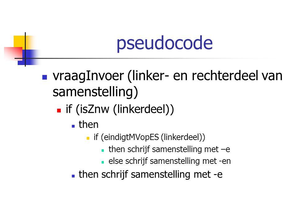 pseudocode vraagInvoer (linker- en rechterdeel van samenstelling)