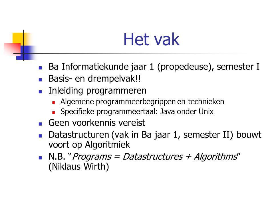 Het vak Ba Informatiekunde jaar 1 (propedeuse), semester I