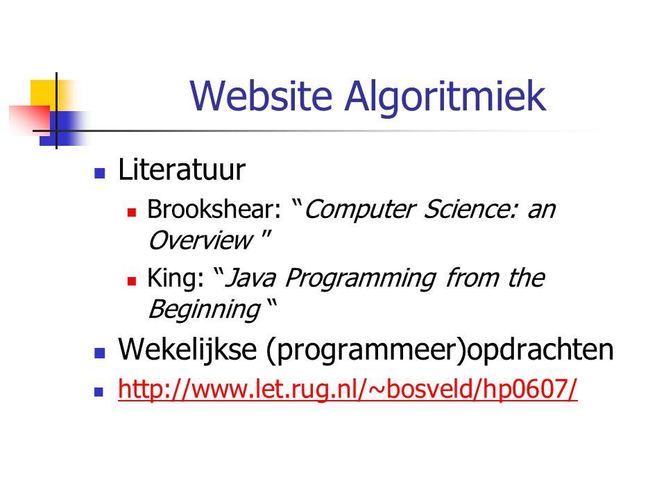 Website Algoritmiek Literatuur Wekelijkse (programmeer)opdrachten