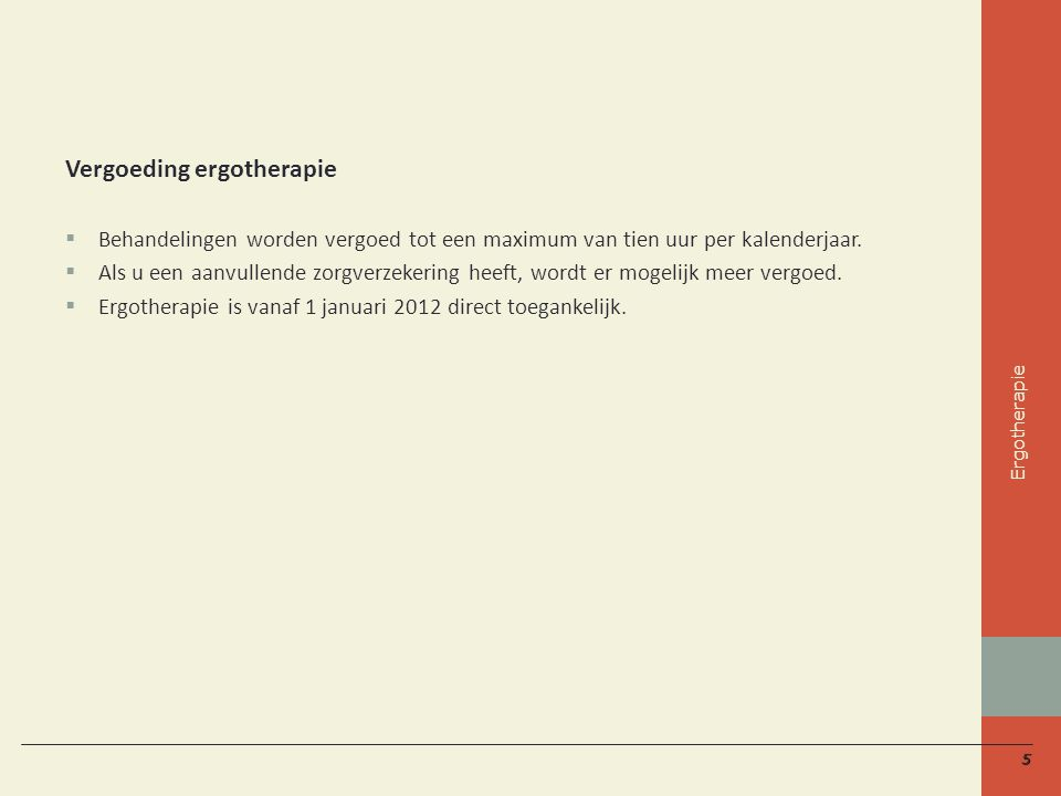 Vergoeding ergotherapie