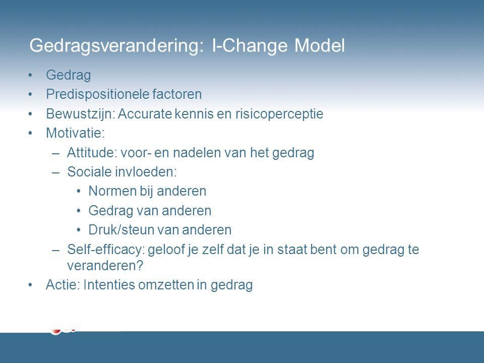 Gedragsverandering: I-Change Model