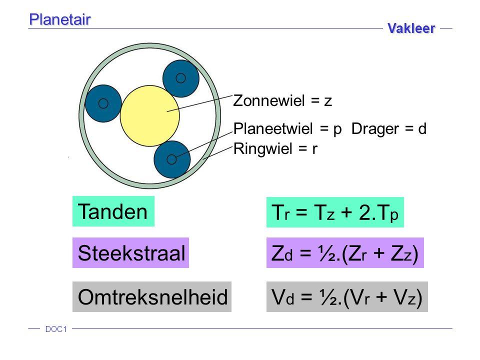 Tr = Tz + 2.Tp Tanden Zd = ½.(Zr + Zz) Steekstraal Vd = ½.(Vr + Vz)