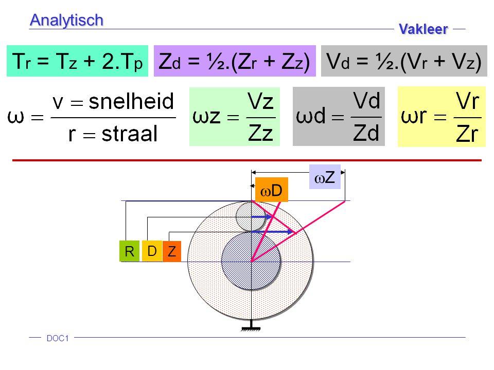 Tr = Tz + 2.Tp Zd = ½.(Zr + Zz) Vd = ½.(Vr + Vz) Analytisch Z D Z D