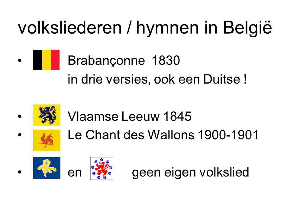 volksliederen / hymnen in België