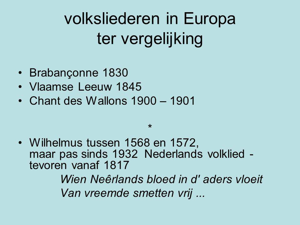 volksliederen in Europa ter vergelijking