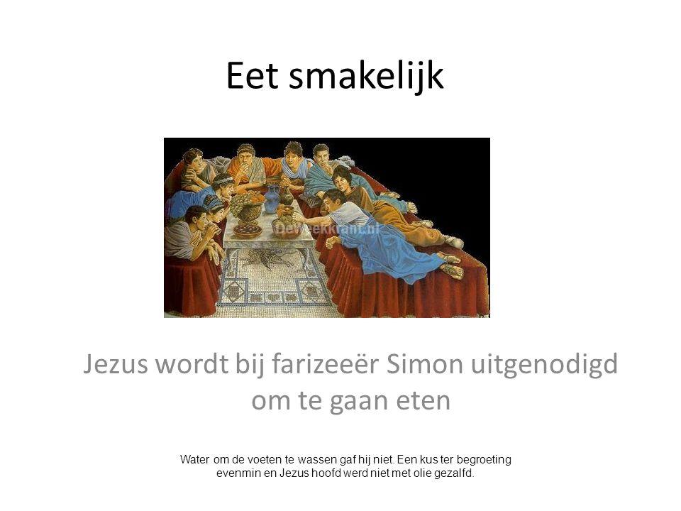 Jezus wordt bij farizeeër Simon uitgenodigd om te gaan eten