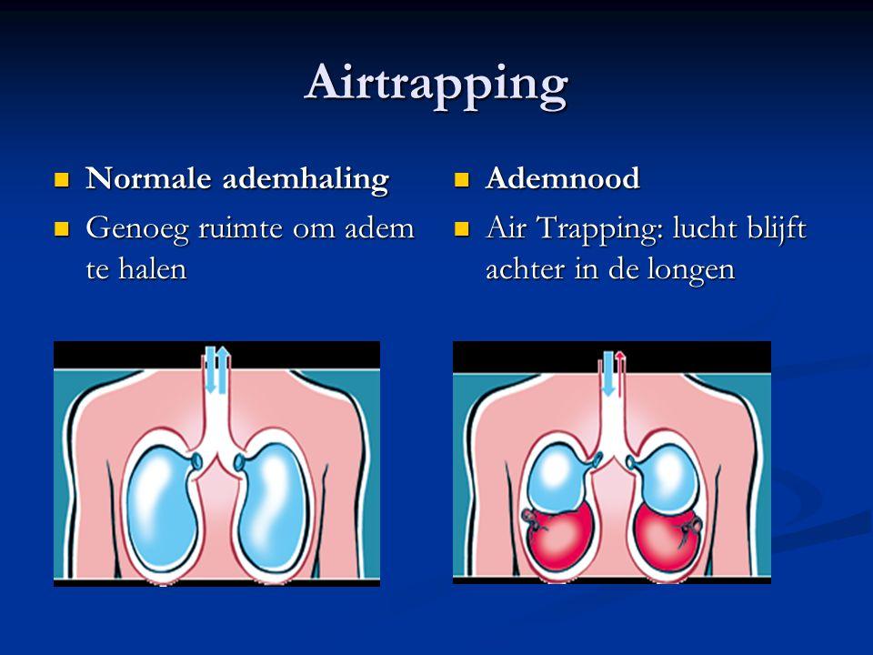 Airtrapping Normale ademhaling Genoeg ruimte om adem te halen Ademnood