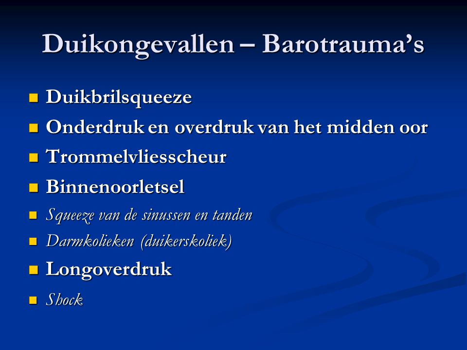 Duikongevallen – Barotrauma's