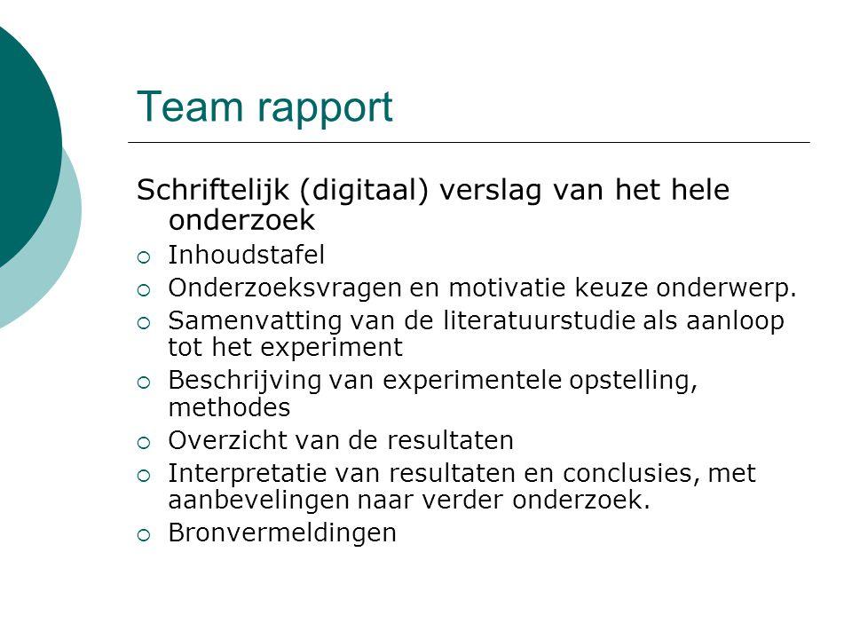 Team rapport Schriftelijk (digitaal) verslag van het hele onderzoek