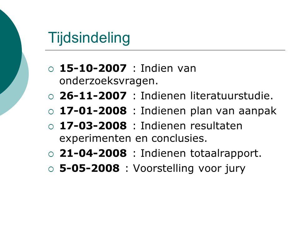 Tijdsindeling 15-10-2007 : Indien van onderzoeksvragen.