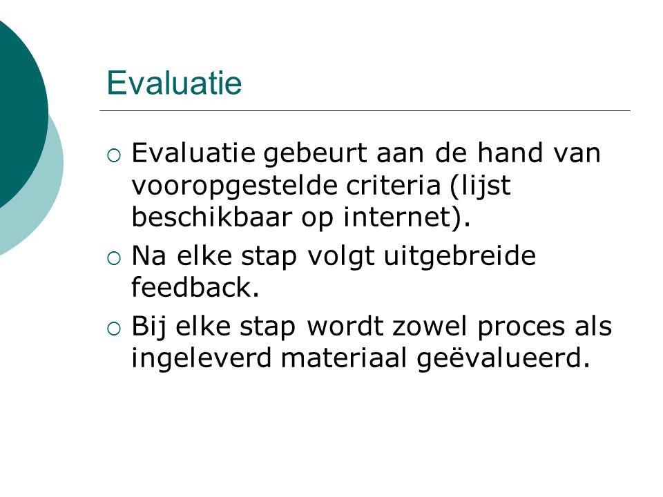 Evaluatie Evaluatie gebeurt aan de hand van vooropgestelde criteria (lijst beschikbaar op internet).