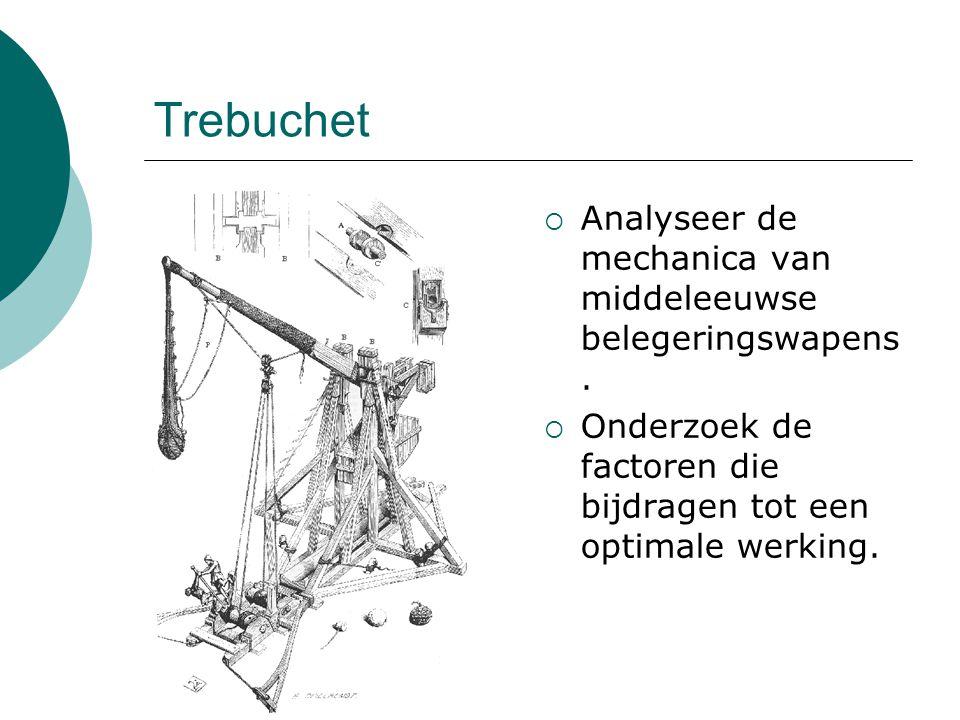 Trebuchet Analyseer de mechanica van middeleeuwse belegeringswapens.