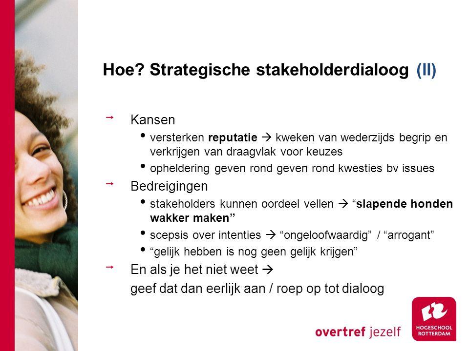 Hoe Strategische stakeholderdialoog (ll)
