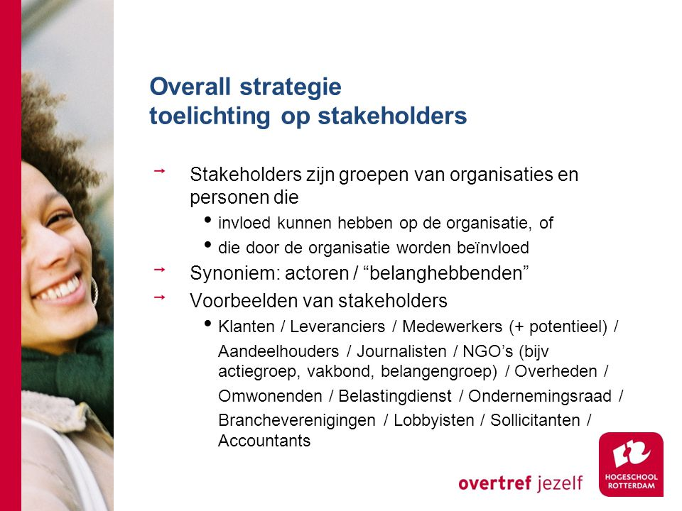 Overall strategie toelichting op stakeholders