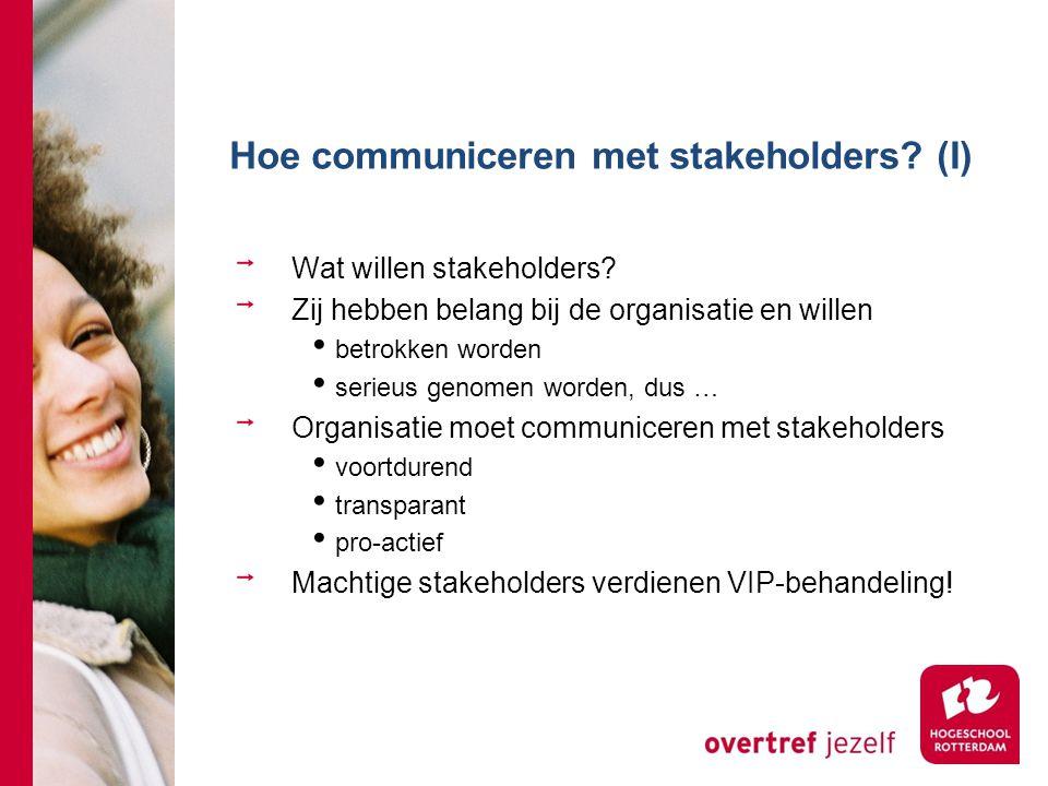 Hoe communiceren met stakeholders (I)