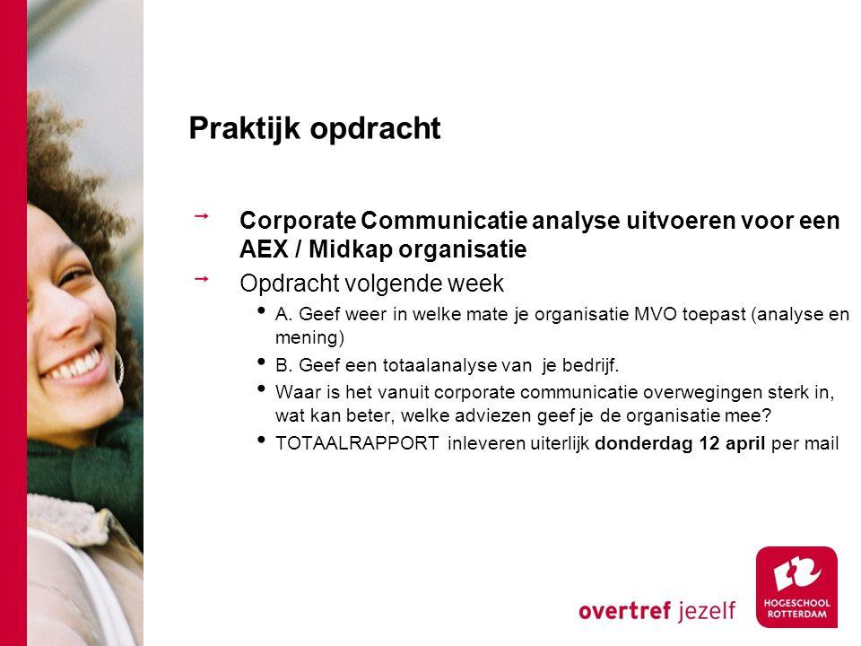 Praktijk opdracht Corporate Communicatie analyse uitvoeren voor een AEX / Midkap organisatie. Opdracht volgende week.