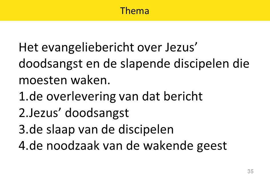 de overlevering van dat bericht Jezus' doodsangst
