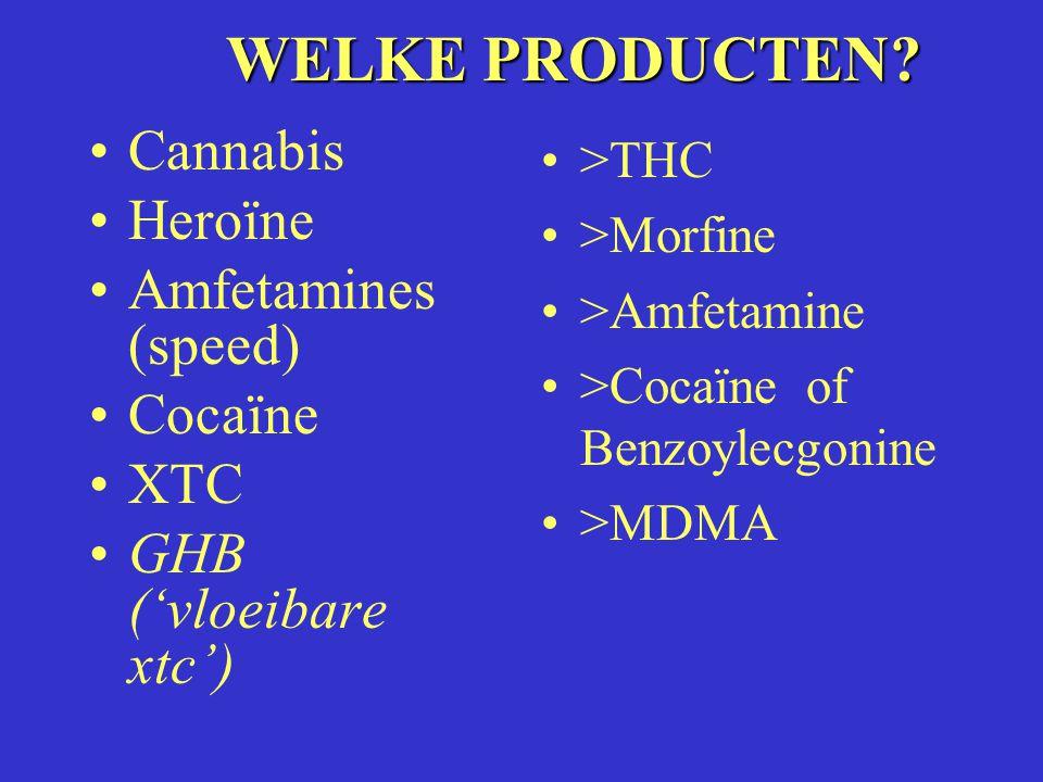 WELKE PRODUCTEN Cannabis Heroïne Amfetamines (speed) Cocaïne XTC