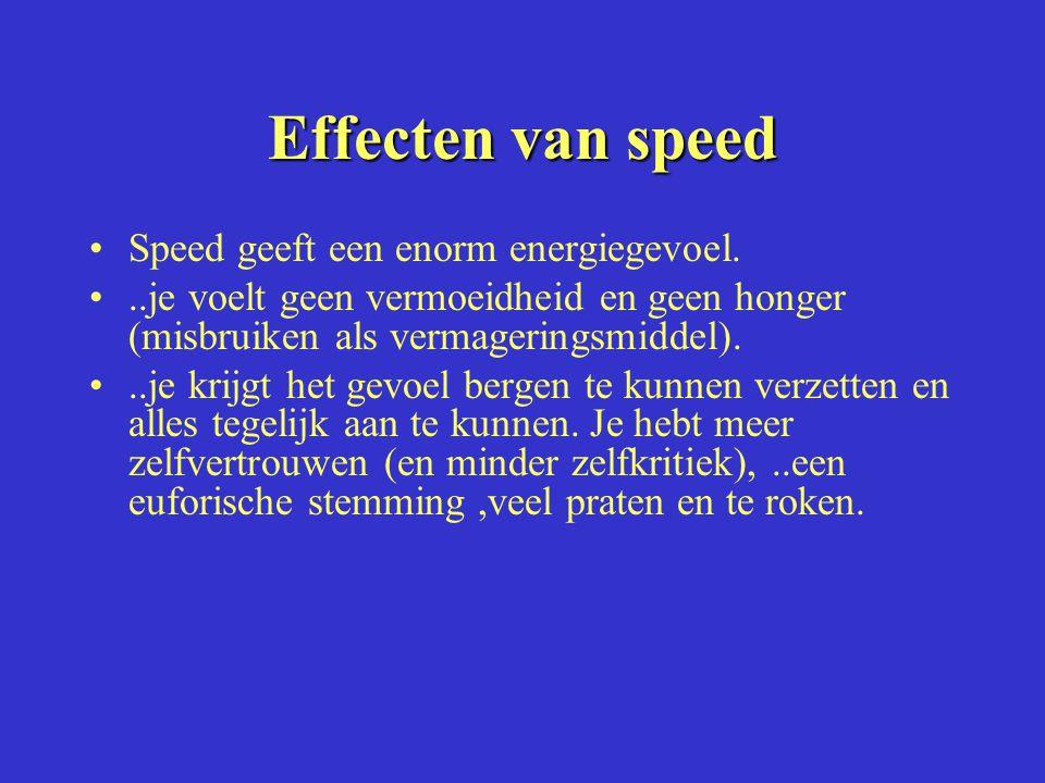 Effecten van speed Speed geeft een enorm energiegevoel.