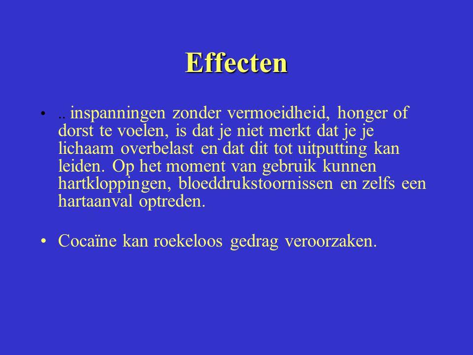 Effecten Cocaïne kan roekeloos gedrag veroorzaken.