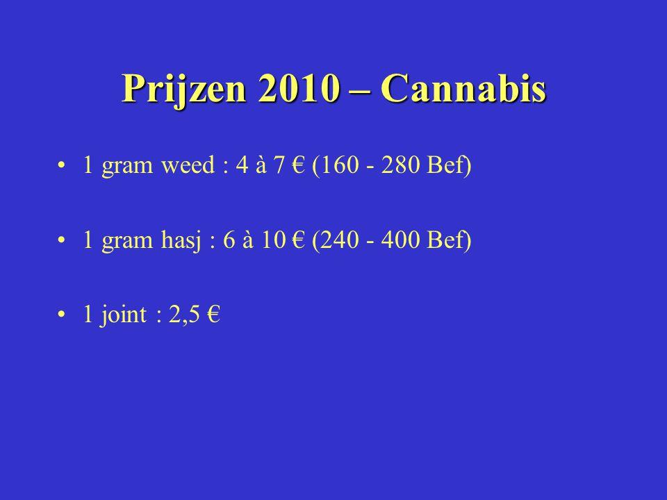 Prijzen 2010 – Cannabis 1 gram weed : 4 à 7 € (160 - 280 Bef)