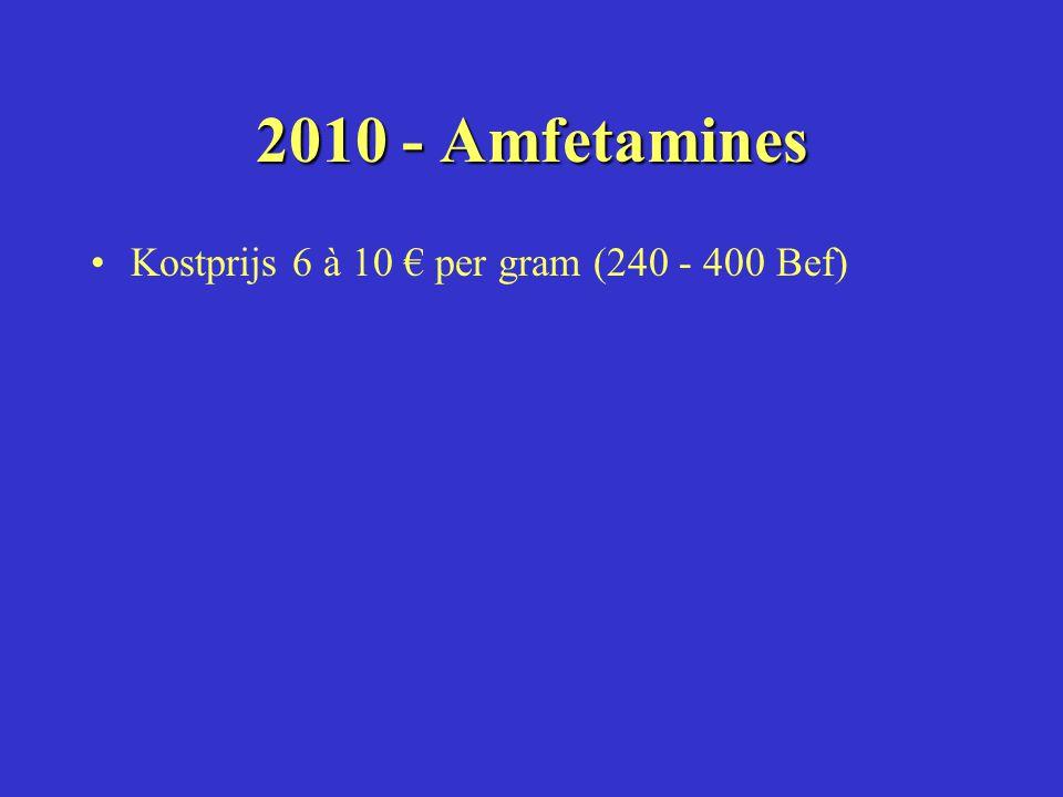 2010 - Amfetamines Kostprijs 6 à 10 € per gram (240 - 400 Bef)