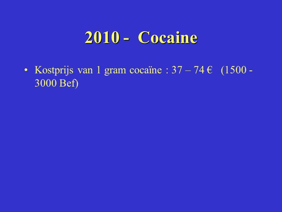 2010 - Cocaine Kostprijs van 1 gram cocaïne : 37 – 74 € (1500 - 3000 Bef)
