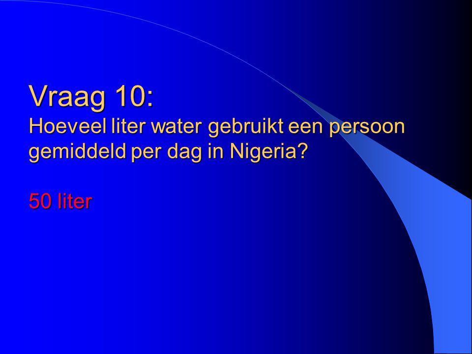 Vraag 10: Hoeveel liter water gebruikt een persoon gemiddeld per dag in Nigeria 50 liter