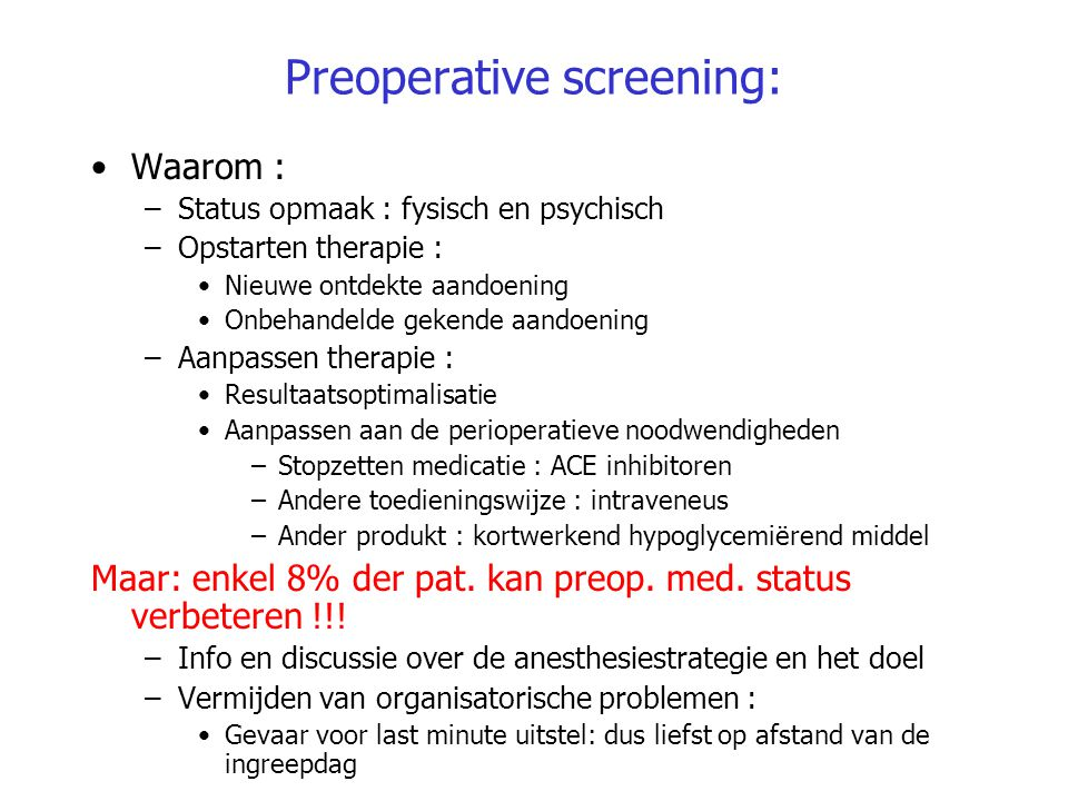 Preoperative screening: