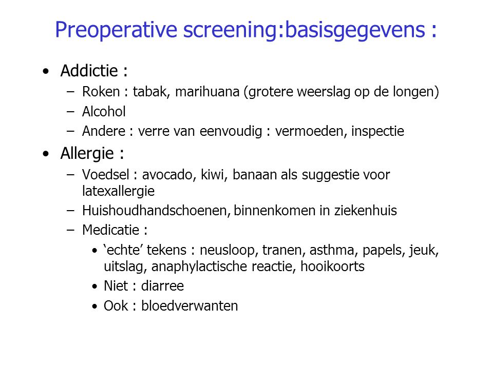 Preoperative screening:basisgegevens :
