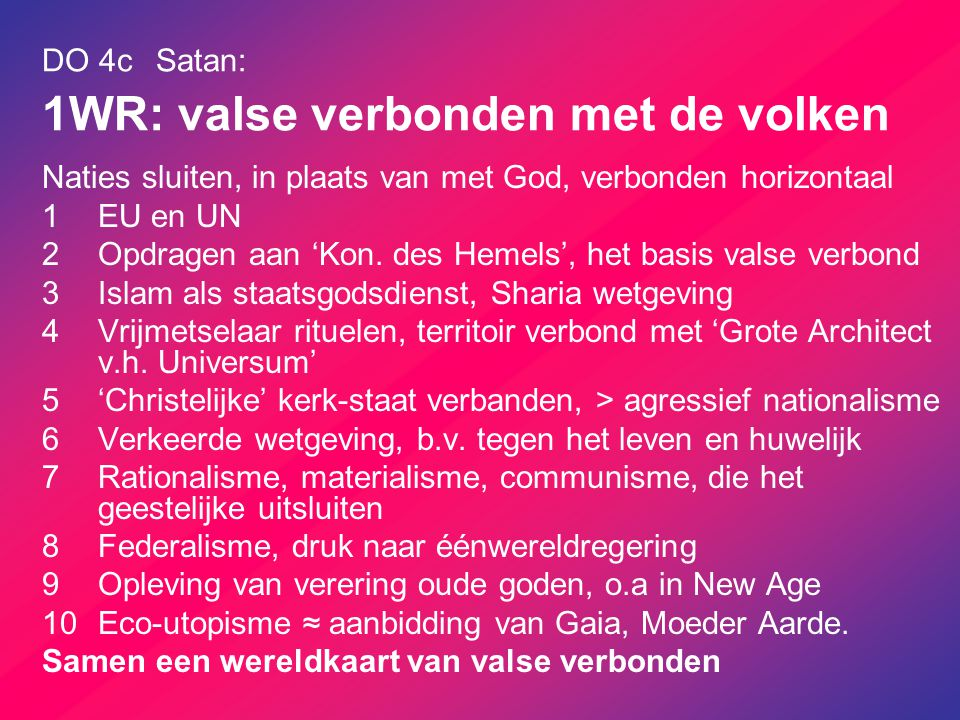 DO 4c Satan: 1WR: valse verbonden met de volken