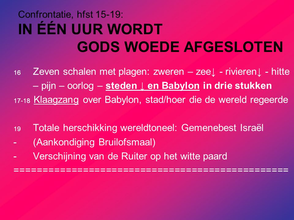 Confrontatie, hfst 15-19: IN ÉÉN UUR WORDT GODS WOEDE AFGESLOTEN